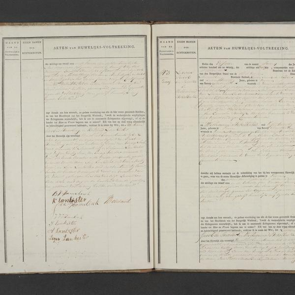 Civil registry of marriages, Veere, 1826, records 2-3