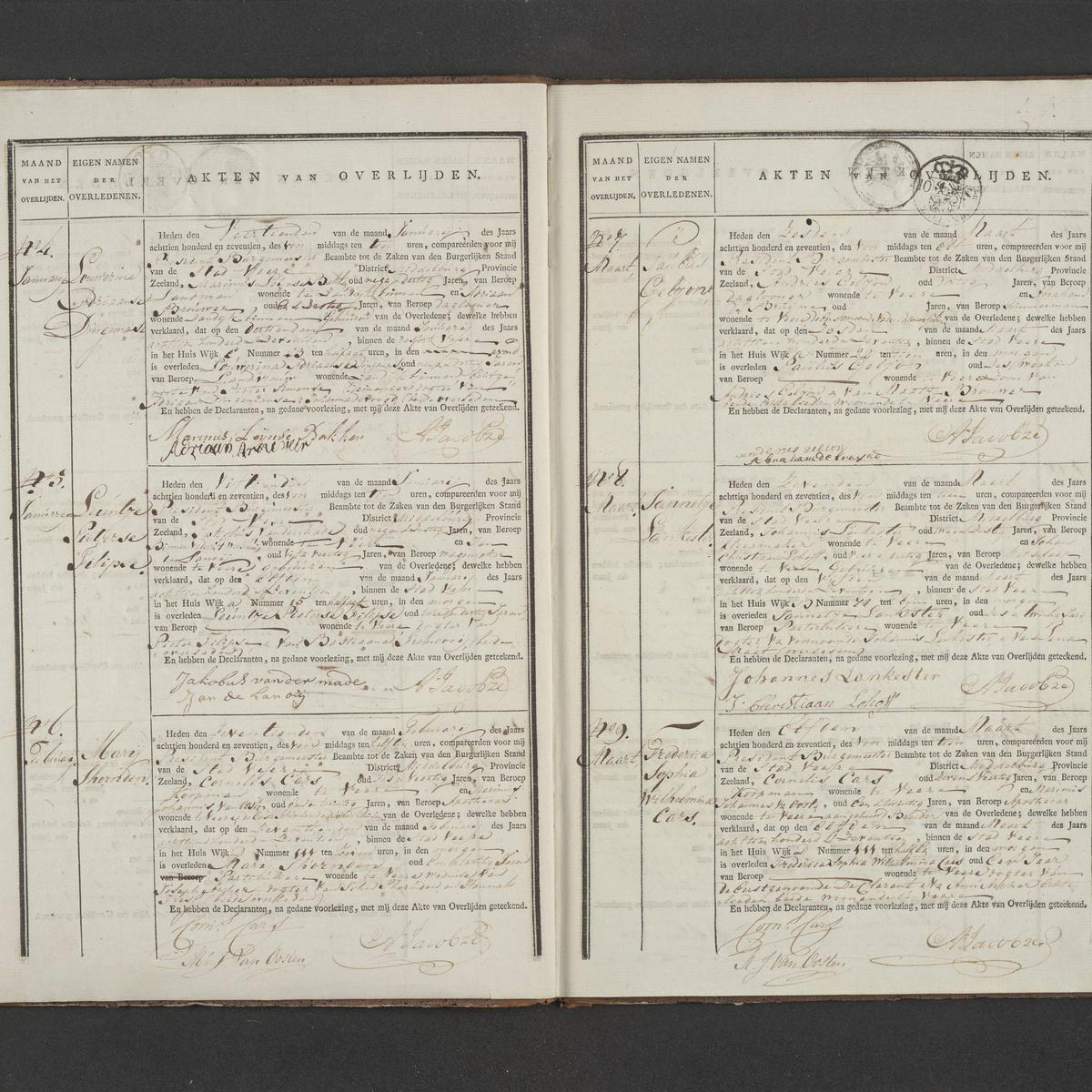 Civil registry of deaths, Veere, 1817, records 4-9