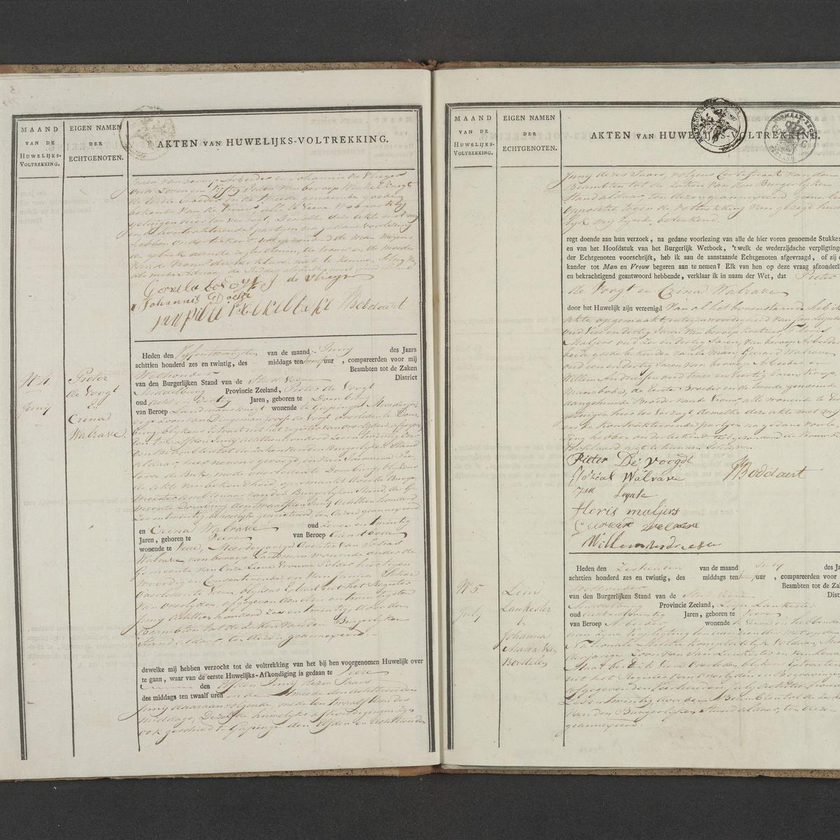 Civil registry of marriages, Veere, 1826, records 4-5