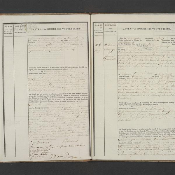 Civil registry of marriages, Veere, 1826, records 5-6