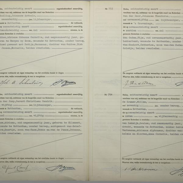 Civil registry of deaths, Rotterdam, 1956, records 791-794