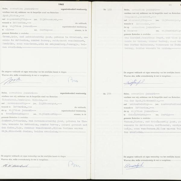 Civil registry of deaths, Rotterdam, 1962, records 191-194