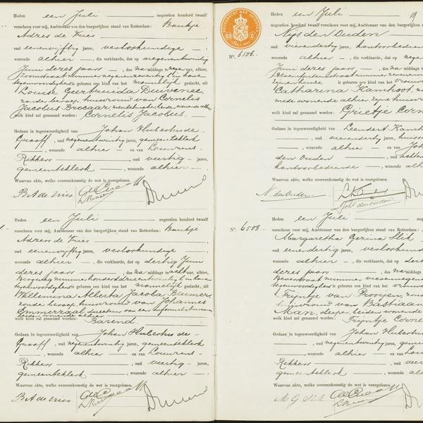 Civil registry of births, Rechtbank Rotterdam, 1912, records 6502-6508