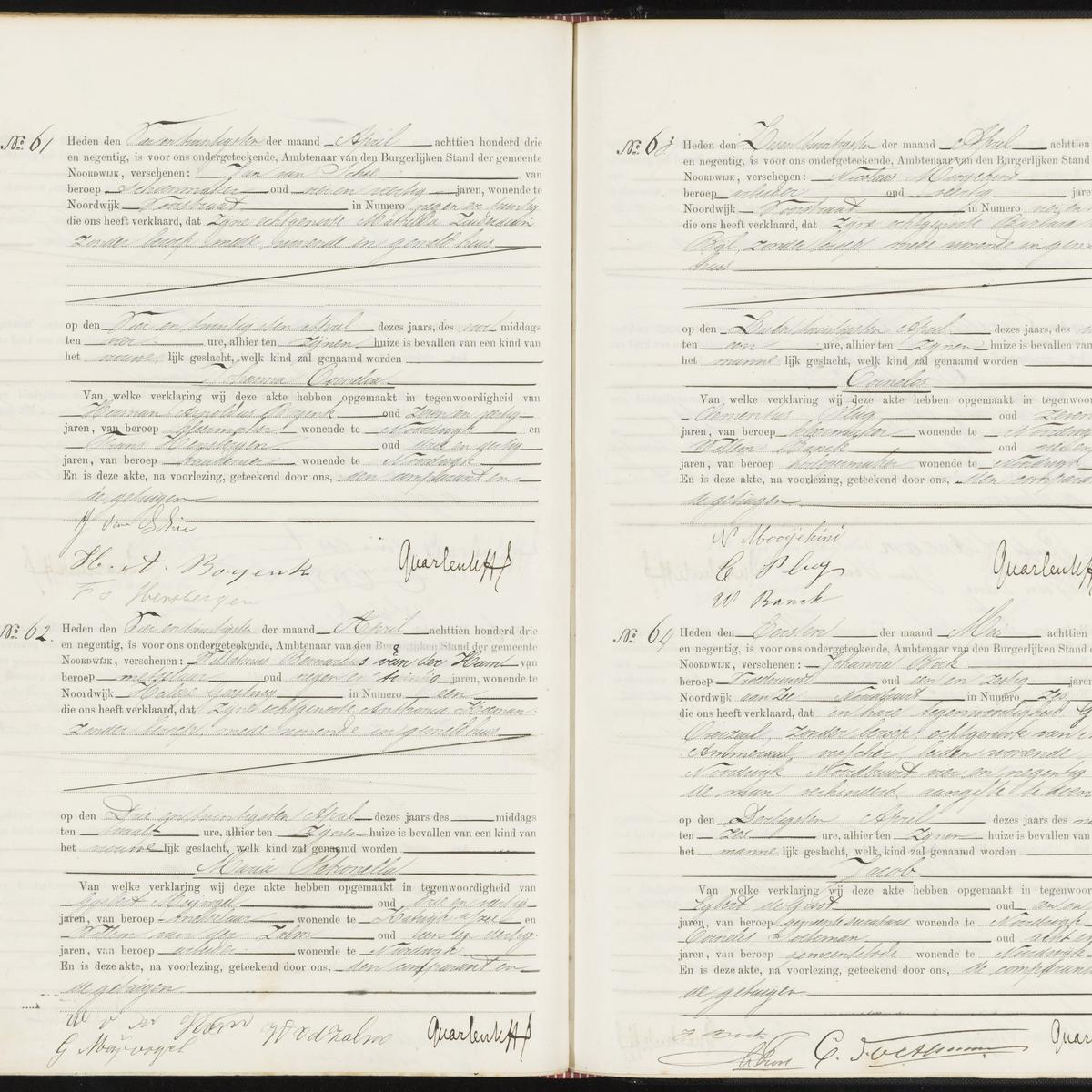 Civil registry of births, Noordwijk, 1893, records 61-64