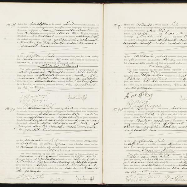 Civil registry of births, Noordwijk, 1894, records 95-98