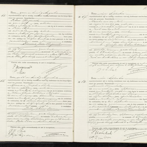 Civil registry of deaths, Noordwijk, 1925, records 65-68