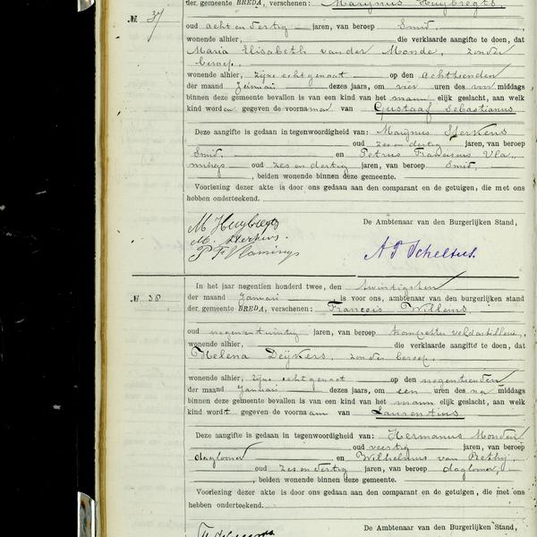 Civil registry of births, Breda, 1902, records 37-38