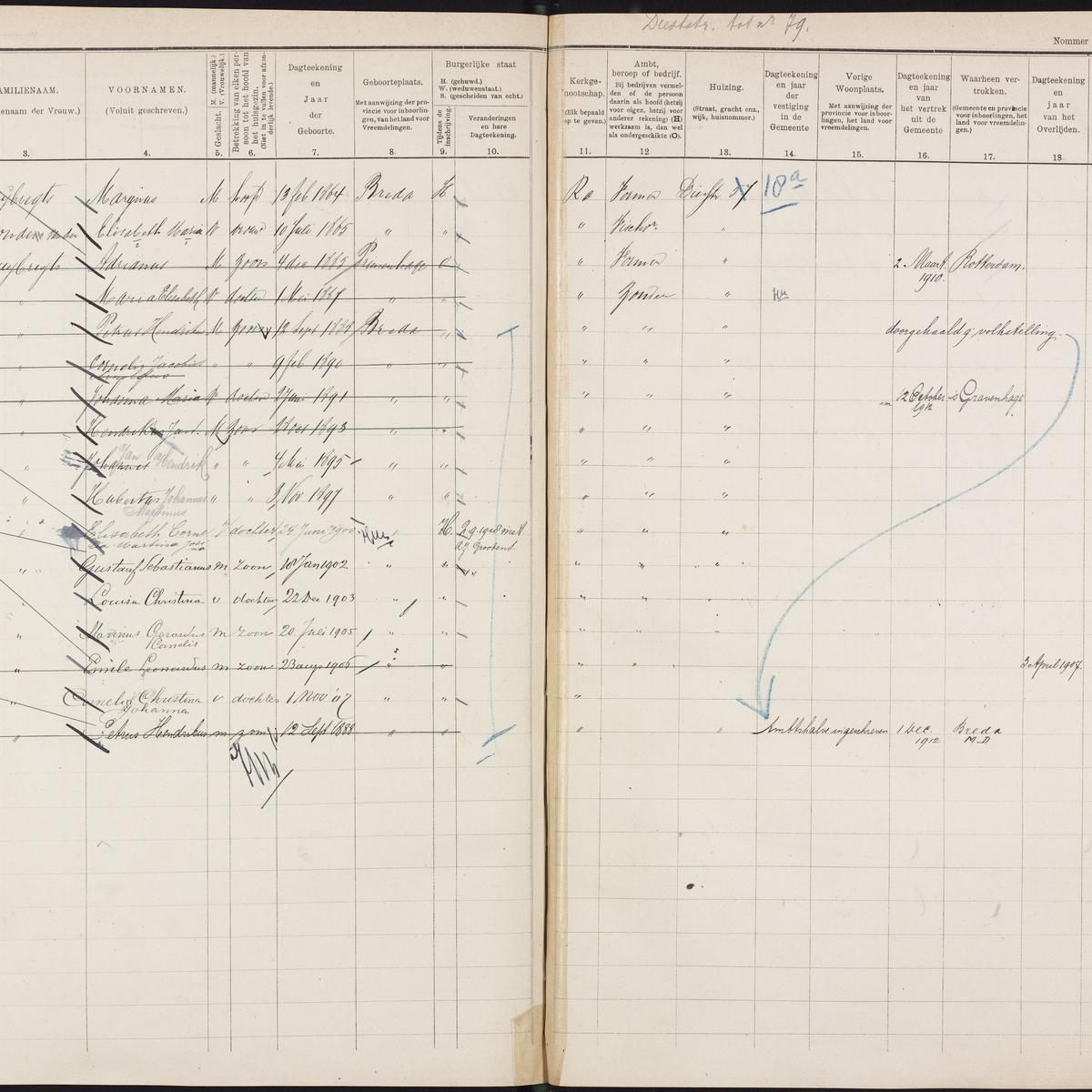Population registry, Breda, 1900-1920, part 05, sheet 161