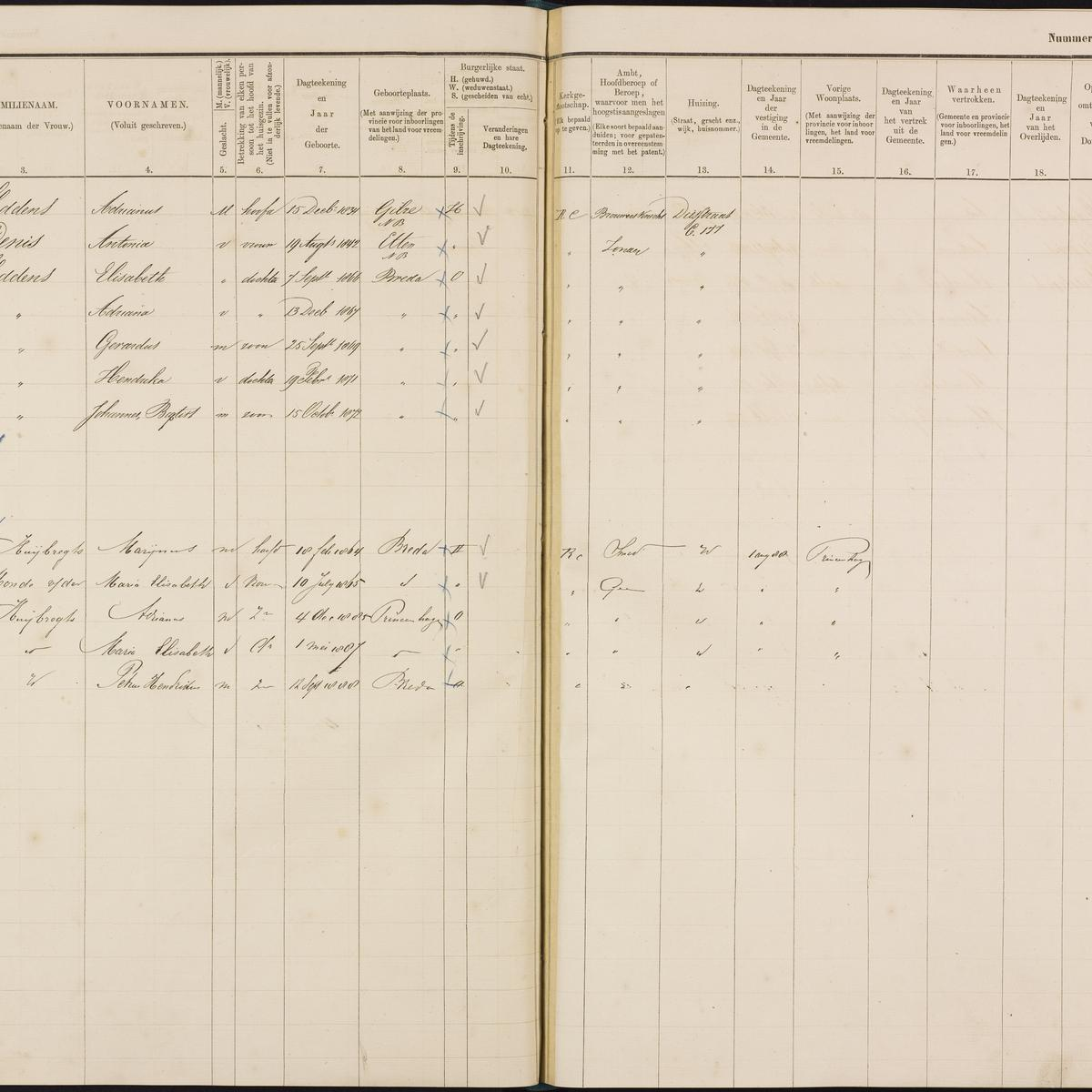 Population registry, Breda, 1880-1889, part 13, sheet 116