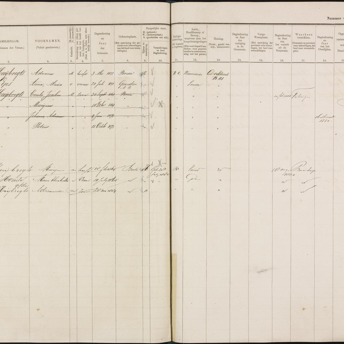 Population registry, Breda, 1880-1889, part 7, sheet 150