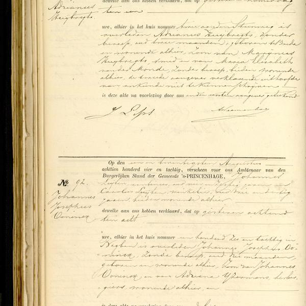 Civil registry of deaths, Princenhage, 1884, records 91-92