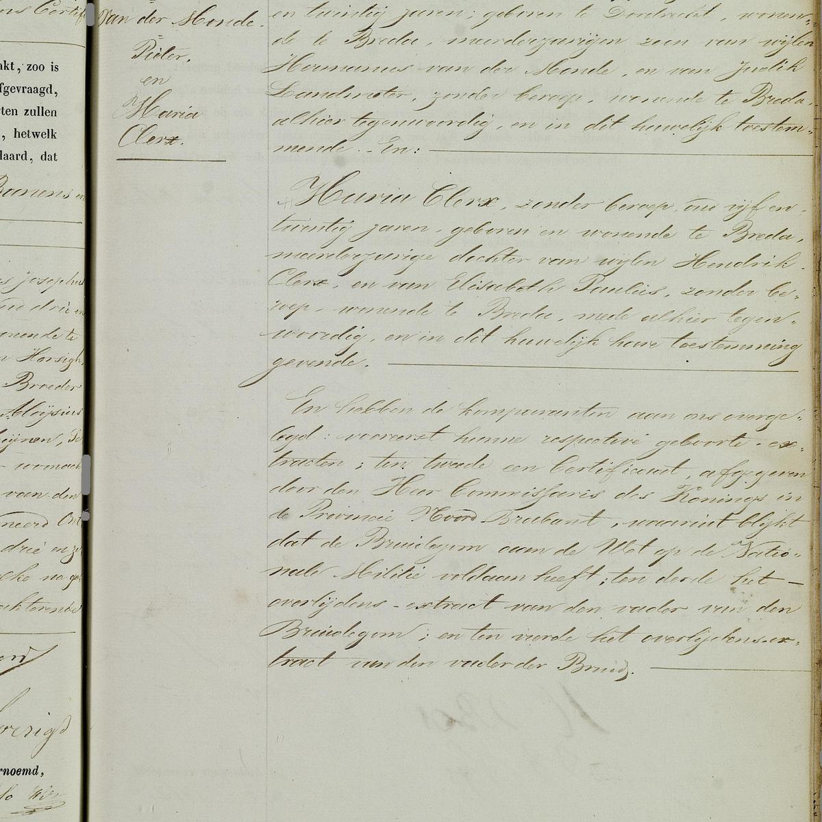 Civil registry of marriages, Breda, 1859, record 75, right page
