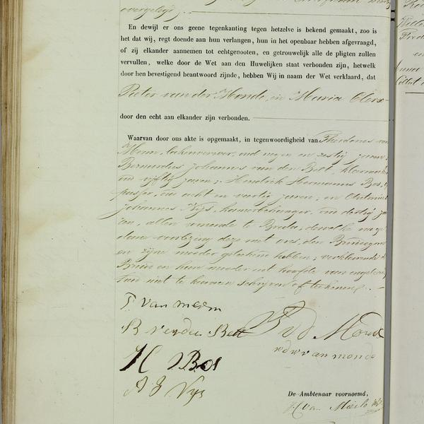 Civil registry of marriages, Breda, 1859, record 75, left page