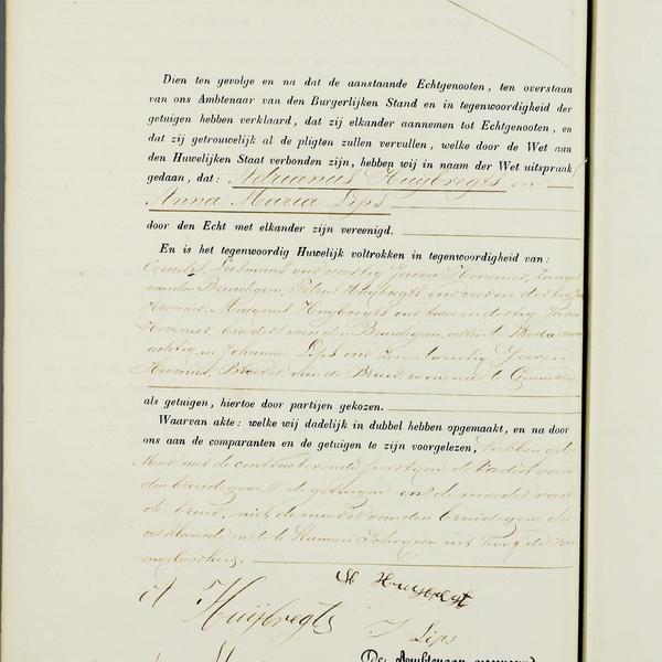 Civil registry of marriages, Ginneken en Bavel, 1857, record 2, left page