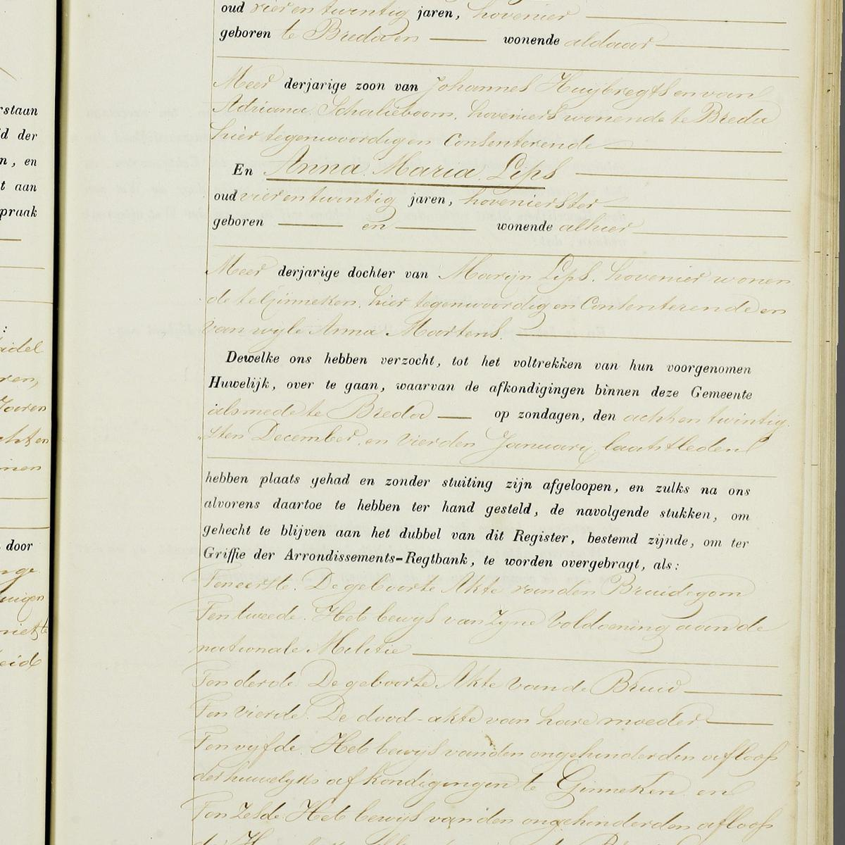 Civil registry of marriages, Ginneken en Bavel, 1857, record 2, right page