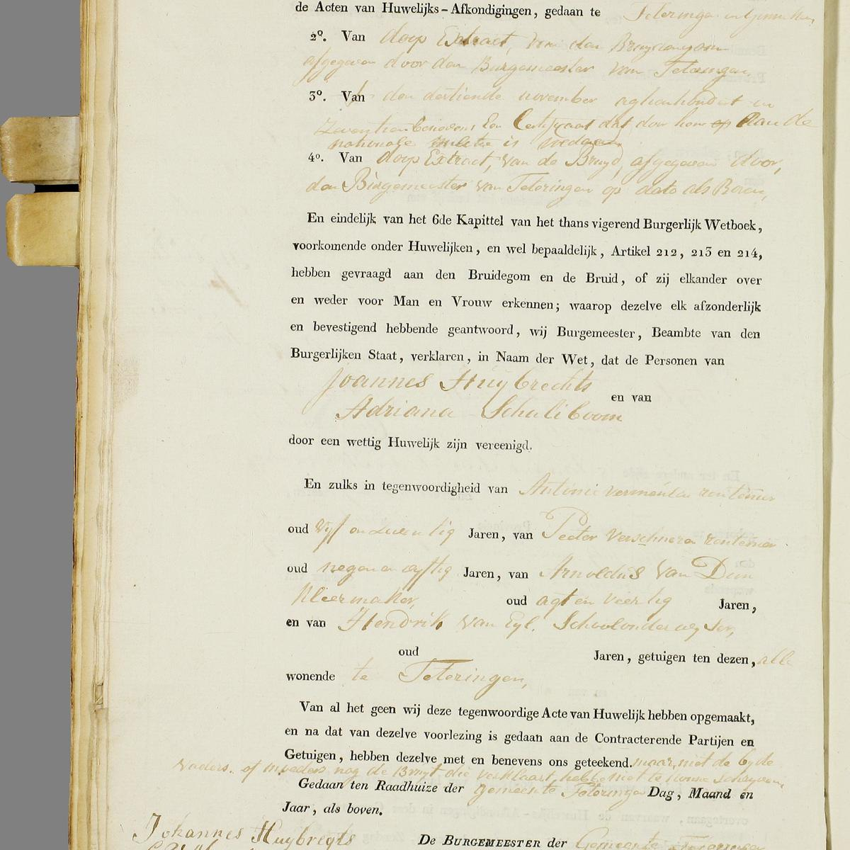 Civil registry of marriages, Teteringen,1817, record 5, left page