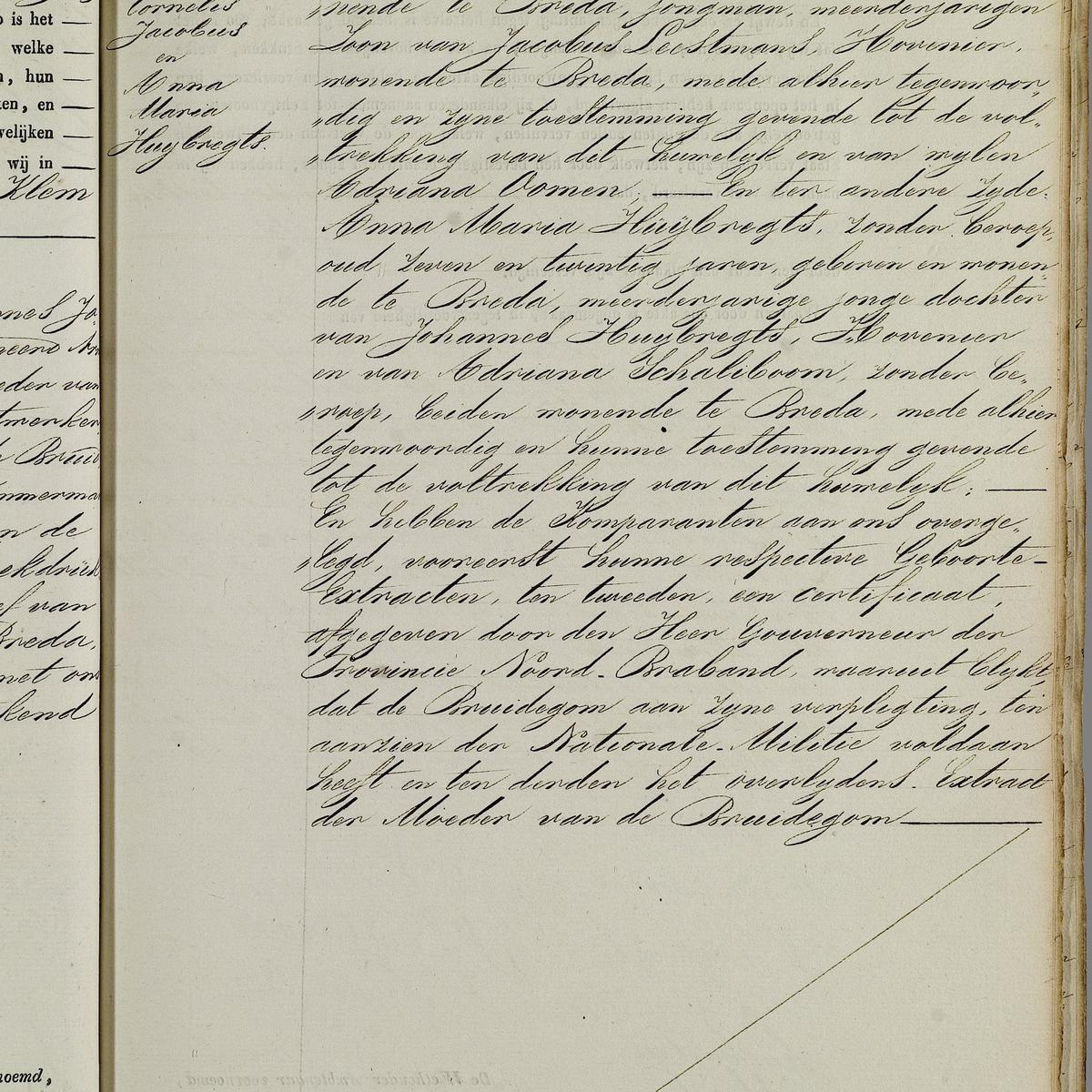 Civil registry of marriages, Breda, 1846, record 74, right page