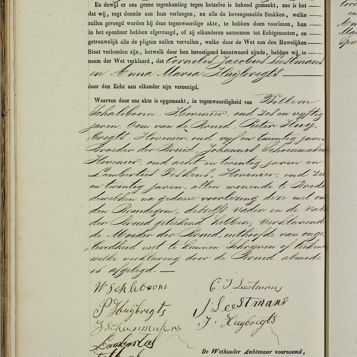 Civil registry of marriages, Breda, 1846, record 74, left page