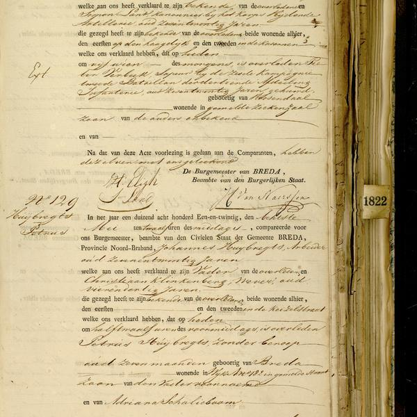 Civil registry of deaths, Breda, 1821, records 128-129