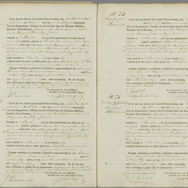 Civil registry of births, Breda, 1824, records 71-74