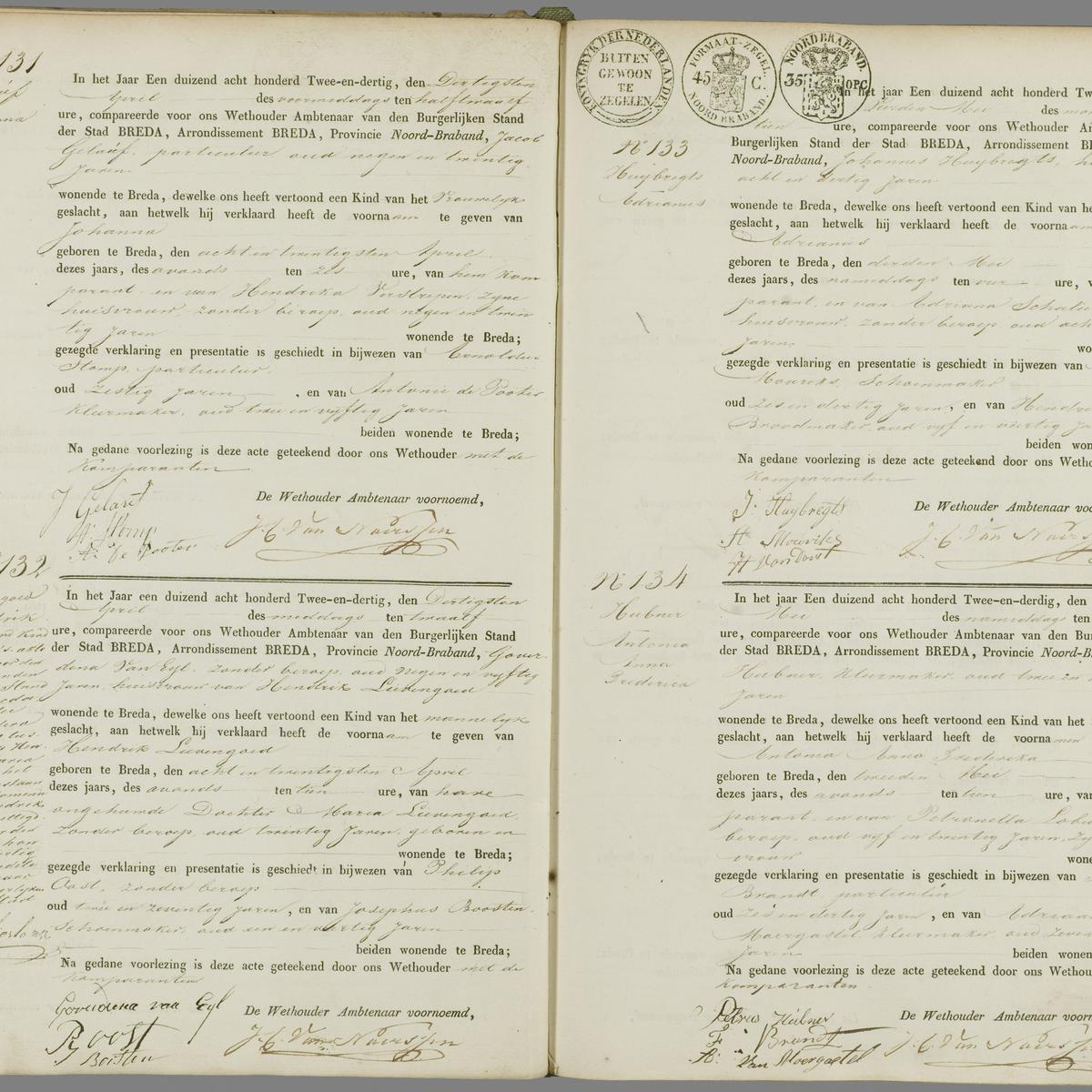 Civil registry of births Breda, 1832, records 131-134