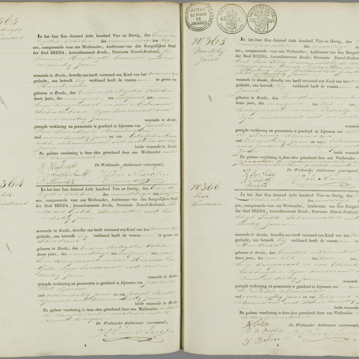 Civil registry of births, Breda, 1834, records 363-366