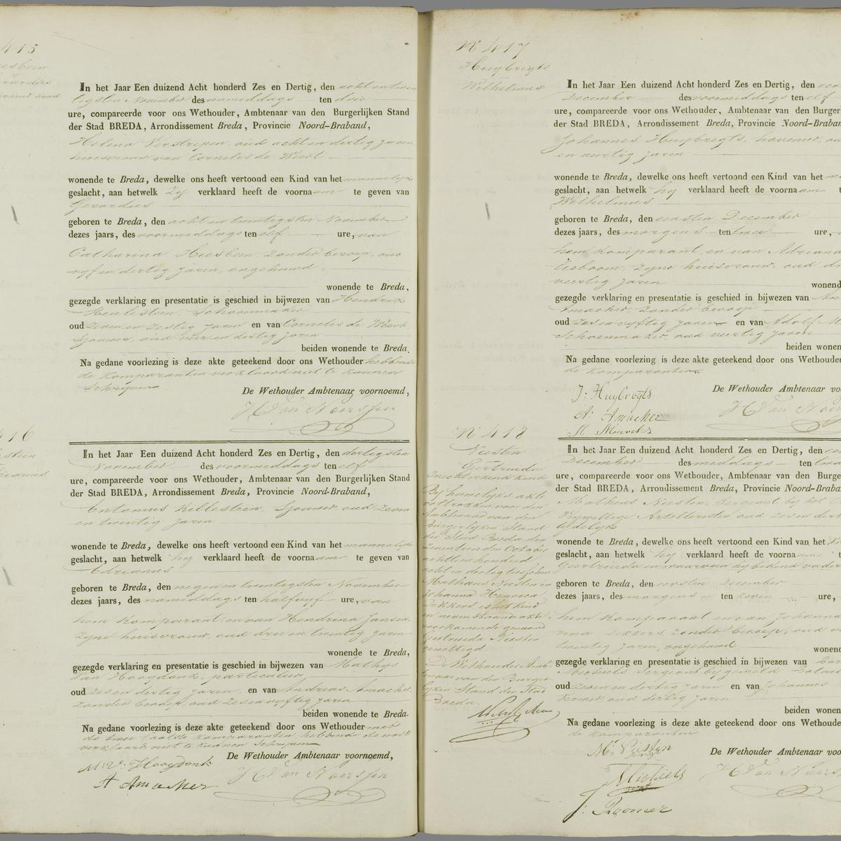Civil registry of births, Breda, 1836, records 415-418