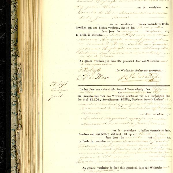 Civil registry of deaths, Breda, 1831, records 190-191