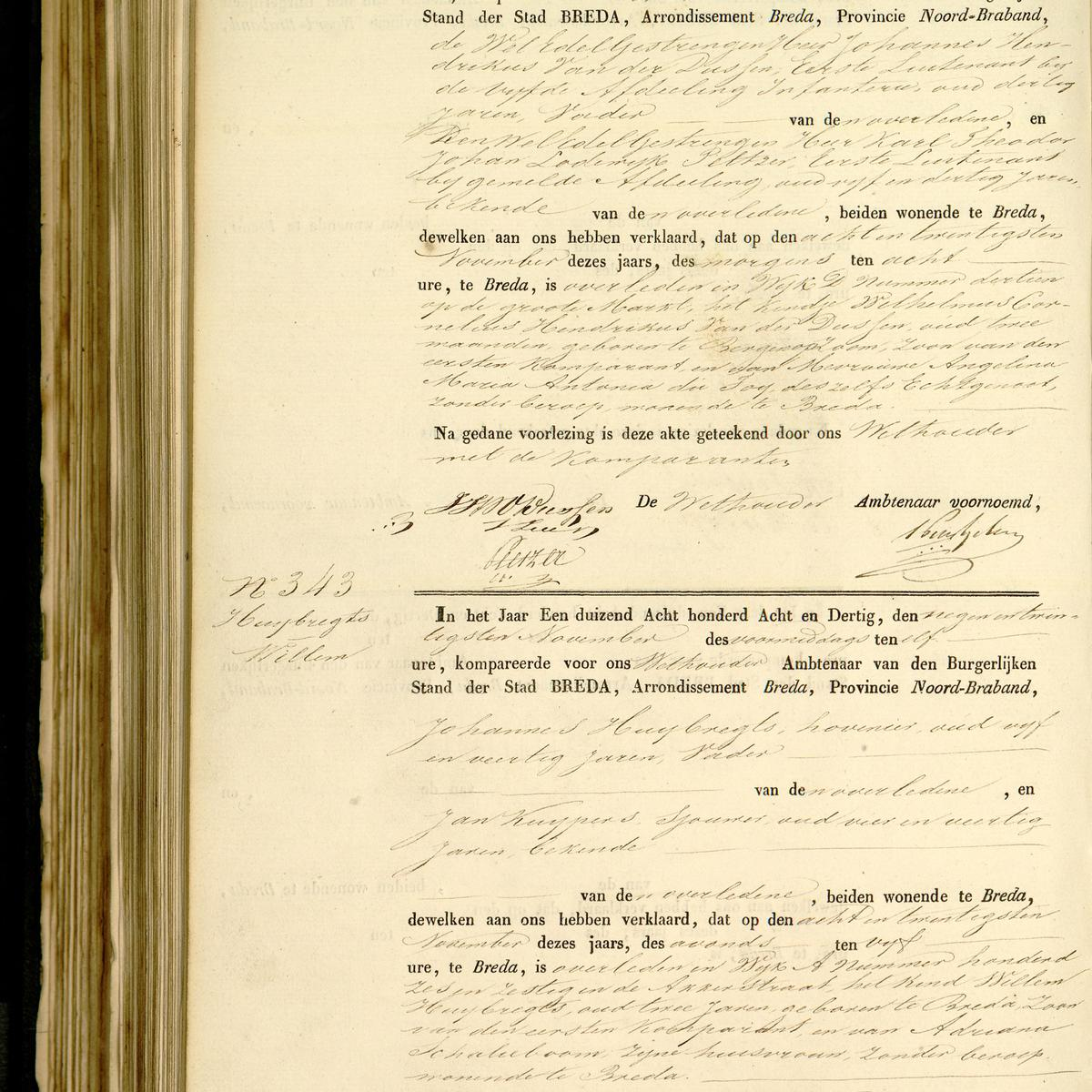 Civil registry of deaths, Breda, 1838, records 342-343