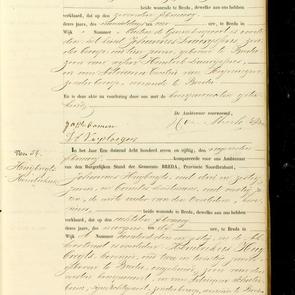 Civil registry of deaths, Breda, 1857, records 53-54