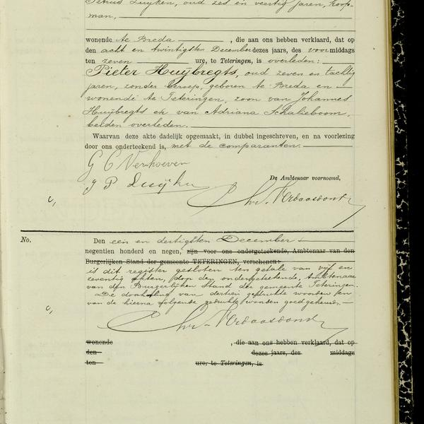 Civil registry of deaths, Teteringen, 1909, record 75