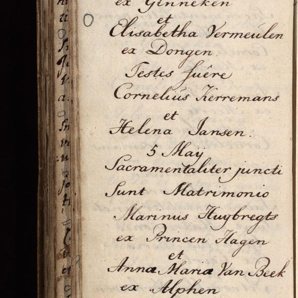 Registry of marriages, Roman Catholic church, Ginneken, 1793, sheet 72v