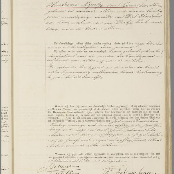 Civil registry of marriages, Utrecht, 1889, record 223