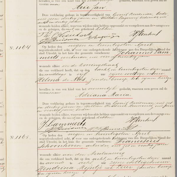Civil registry of marriages, Utrecht, 1908, records 1163-1165