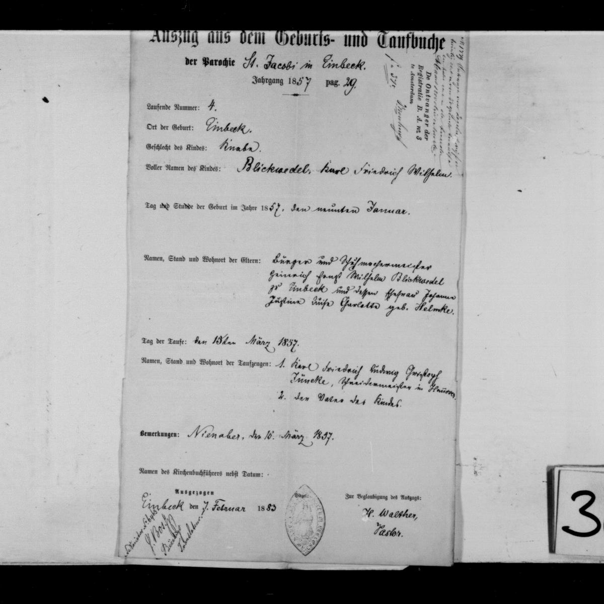 Extract of the baptism record for Karl Friedrich Wilhelm Blickwedel, Der Parochie St. Jacobi,  Einbeck, 1883-02-07