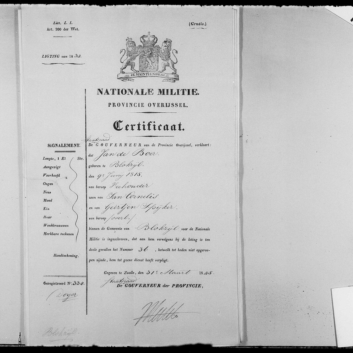 Certificate about service in the national militia for Jan de Boer, 1845-03-31